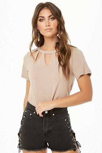 Forever21 Cutout Neckline Top