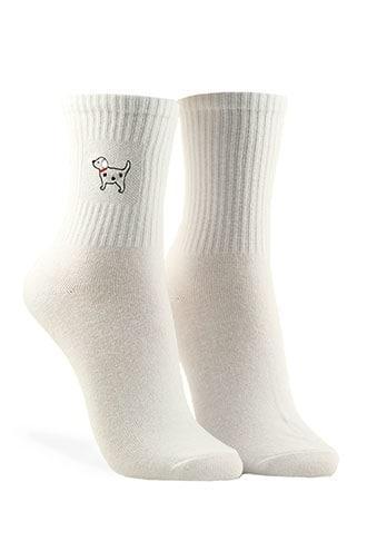 Forever21 Embroidered Dog Crew Socks