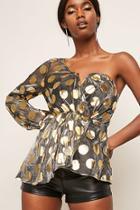 Forever21 Sheer Polka Dot One-shoulder Top