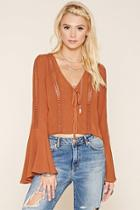 Forever21 Women's  Chestnut Crochet Panel Crop Top
