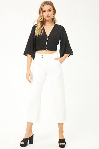 Forever21 High-rise Raw-cut Ankle Jeans