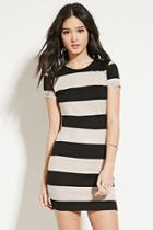 Forever21 Women's  Black & Taupe Striped Bodycon Dress