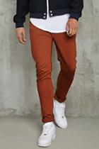 21 Men Men's  Rust Slim-fit Jeans