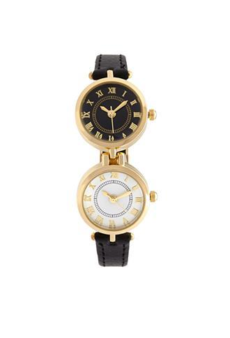 Forever21 Double-face Watch Black/gold One Size