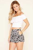 Forever21 Women's  Tie-waist Floral Print Shorts