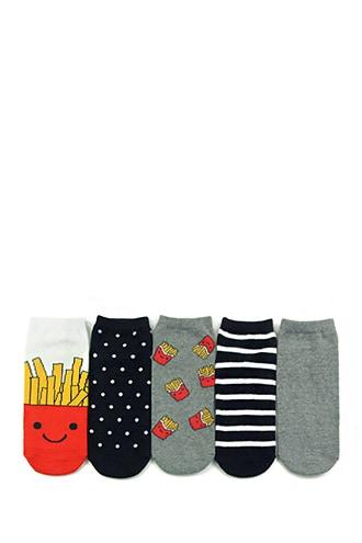 Forever21 French Fry Graphic Ankle Socks - 5 Pack