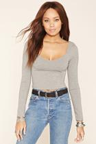 Forever21 Women's  Heather Grey Classic Crop Top