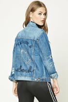 Forever21 Distressed Graphic Denim Jacket