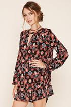 Love21 Women's  Black & Rust Contemporary Paisley Dress