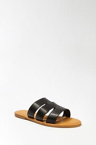 Forever21 Faux Leather Cutout Slide Sandals