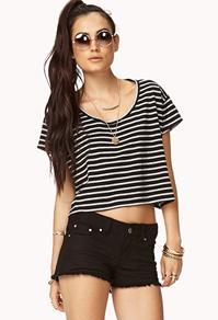 Forever21 Boxy Striped Crop Top