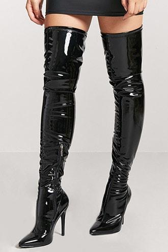 Forever21 Faux Patent Leather Thigh-high Boots