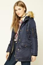 Forever21 Women's  Navy Faux Fur-trimmed Jacket