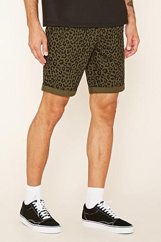 21 Men Men's  Leopard Print Cotton Shorts
