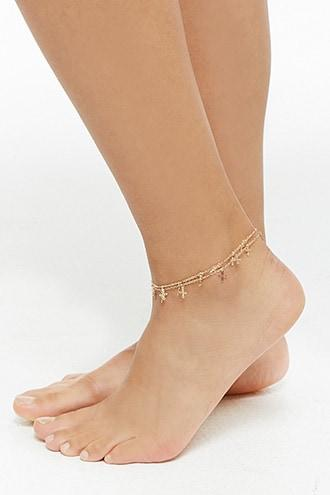 Forever21 Cross Charm Anklet Set