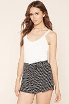 Love21 Women's  Black & Cream Contemporary Ornate Shorts