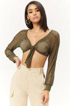 Forever21 Sheer Net Knotted Crop Top