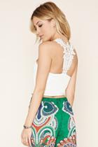 Forever21 Women's  Ivory Crochet-back Crop Top