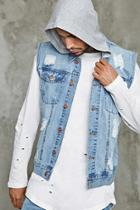 Forever21 Distressed Denim Hoodie Vest