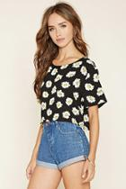 Forever21 Women's  Floral Print Woven Crop Top