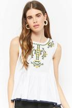 Forever21 Embroidered Pleated Top
