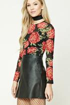 Forever21 Floral Print Mesh Top