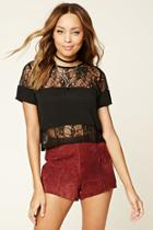 Forever21 Sheer Floral Lace Top