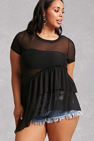 Forever21 Plus Size Asymmetrical Mesh Top