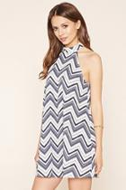Love21 Women's  Navy & White Contemporary Chevron Dress