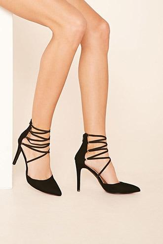 Forever21 Women's  Faux Suede Strappy Heels
