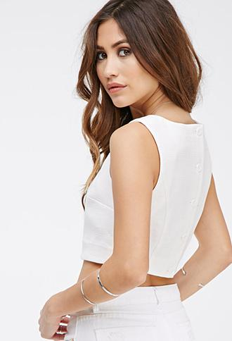 Forever21 Textured Woven Crop Top White Small