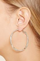 Forever21 Rhinestone Twist Hoop Earrings