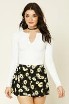 Forever21 Women's  White Henley Crop Top