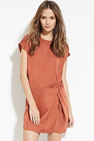 Love21 Women's  Contemporary Knotted Sheeny Shift Dress