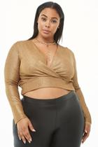 Forever21 Plus Size Metallic Surplice Crop Top