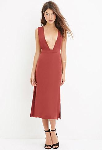 Love21 Deep V-cut Dress