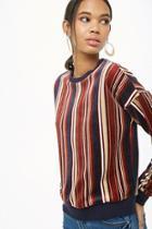 Forever21 Striped Velour Pullover