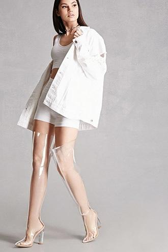Forever21 Clear Over-the-knee Lucite Boots