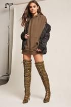 Forever21 Cape Robbin Quilted Over-the-knee Camo Boots