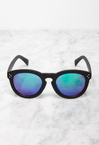Forever 21 Mirrored D-frame Sunglasses Black/blue One Size