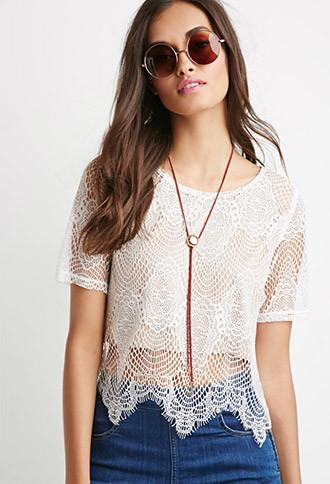 Forever21 Eyelash Lace Overlay Top