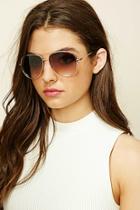 Forever21 Gold & Brown Metal Aviator Sunglasses