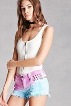 Forever21 Studded Ombre Denim Shorts