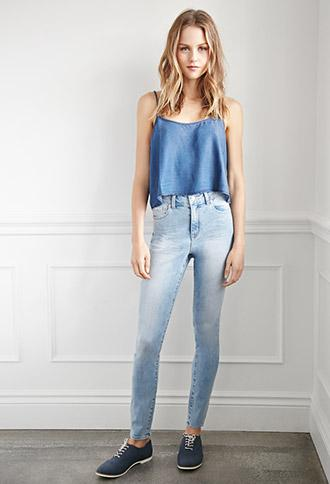 Forever 21 Classic High-waisted Jeans Medium Denim 24