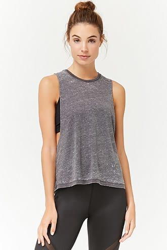 Forever21 Active Heathered Burnout Tank Top