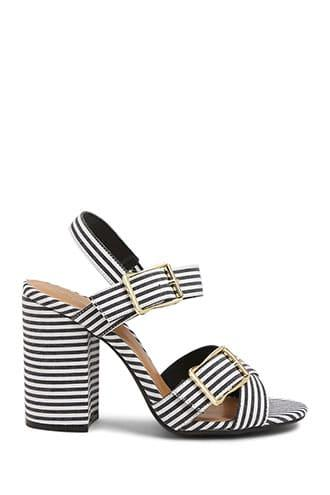 Forever21 Strappy Pinstriped Heels