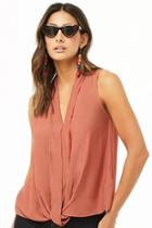 Forever21 Contemporary Pleated Chiffon Blouse