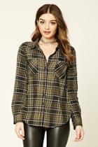 Forever21 Women's  Olive Tartan Plaid Shirt