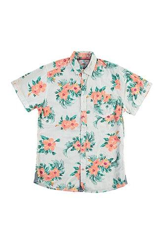Forever21 Drill Clothing Floral & Striped Shirt
