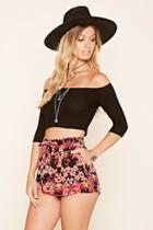Forever21 Women's  Black Floral Print Pleated Shorts